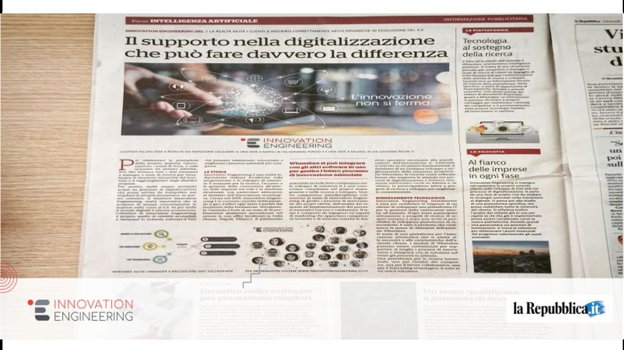 Innovation Engineering on the headlines: read the article on La Repubblica!